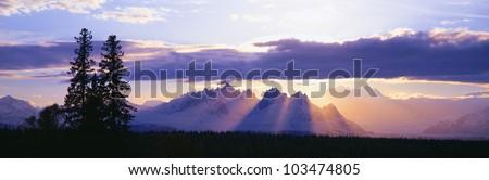Sunset over Mount McKinley, Alaska - stock photo