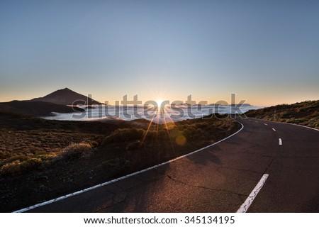 Sunset over Mount Teide in Tenerife - stock photo