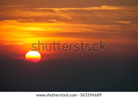 Sunset over mountain view, landscape