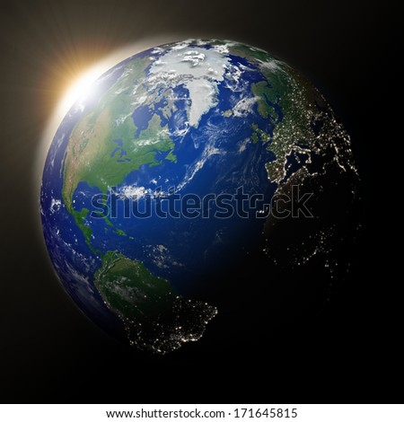 Sunset over North America on blue planet Earth. High detail planet surface with city lights. Elements of this image furnished by NASA.