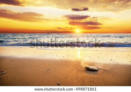 sunset over ocean. Nature composition.
