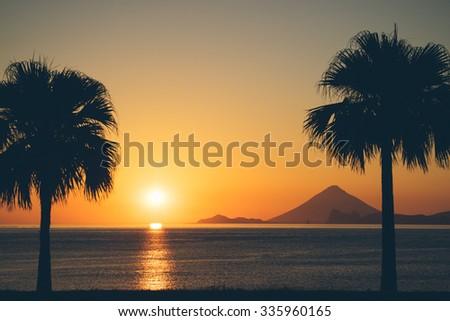 Sunset over ocean with palm trees and volcanic mountain, Mt. Kaimon, Kagoshima, Kyushu, Japan - stock photo
