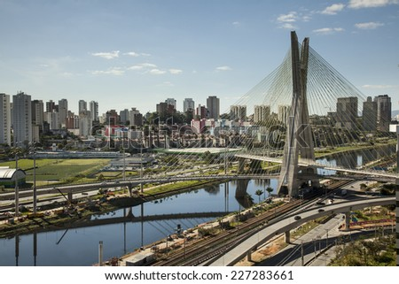 Sunset over Octavio Frias Oliveira Bridge - Sao Paulo - Brazil