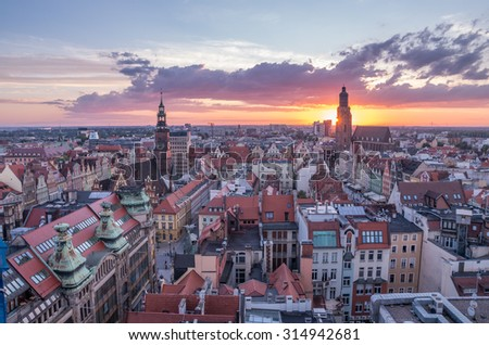 Sunset over old city of Wroclaw seen from above - stock photo