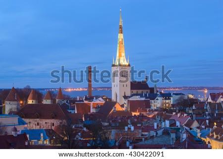 Sunset over Old City Town Tallinn In Estonia  - stock photo