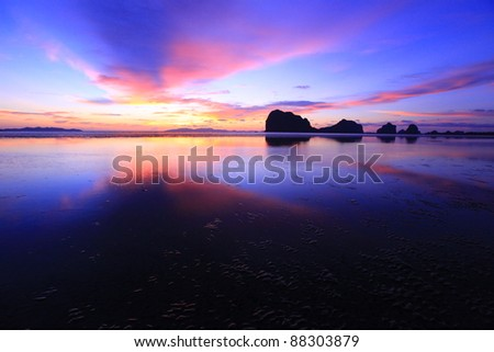 Sunset over Pagmeng Beach Trang,Thailand - stock photo
