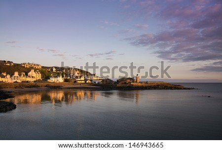 Sunset over Portpatrick, Dumfries and Galloway, Scotland - stock photo