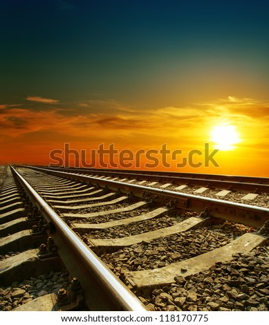sunset over railroad - stock photo