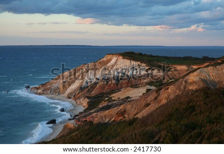Sunset over red cliffs at Martha's Vineyard
