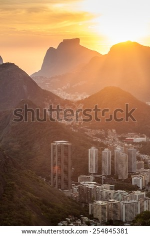 Sunset over Rio de Janeiro, Brazil. Taken from Sugarloaf mountain. - stock photo