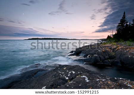 Sunset over Rock Harbor at Isle Royale National Park in Michigan. - stock photo