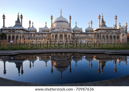 Sunset over Royal Pavillion of Brighton England