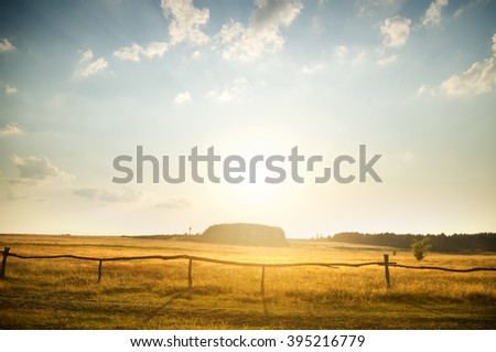 Sunset over rural countryside field, with yellow grass at the background.