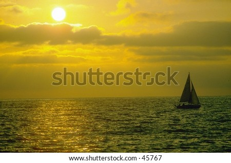 Sunset over sailboat