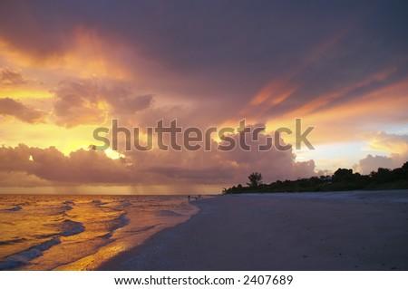 Sunset over Sanibel Island - stock photo