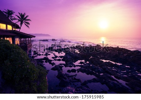Sunset over sea coastline. Beauty nature background - stock photo