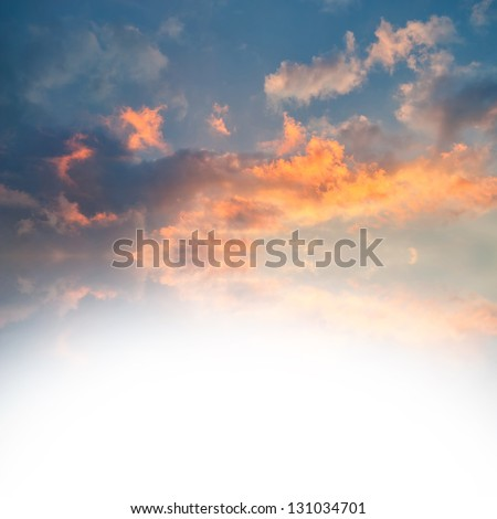 Sunset over sea with reflection in water, colorful clouds in the sky with place for your text - stock photo