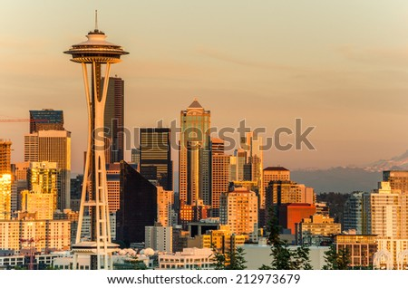 Sunset over Seattle Downtown - stock photo