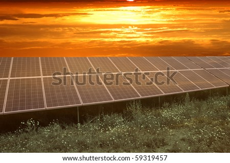 Sunset over solar power station - stock photo