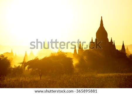 Sunset over  some Temples in Bagan, Myanmar  - stock photo