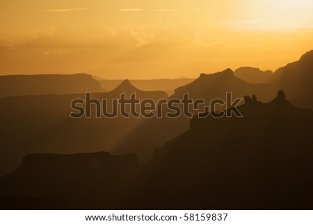 Sunset over south rim grand canyon