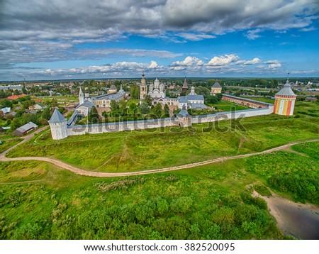 Sunset over Spaso-Prilutsky monastery in Vologda Region - stock photo
