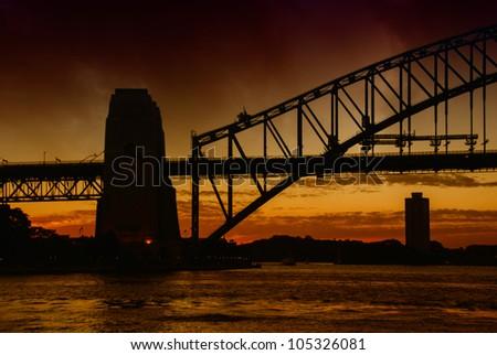 Sunset over Sydney with Harbour Bridge Silhouette, Australia - stock photo