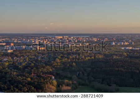 Sunset over Tallinn city residential area, aerial view