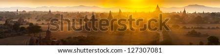 Sunset over temples of Bagan in Myanmar - stock photo
