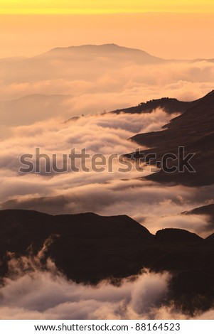 Sunset over the Andean mountains in Ecuador. chimborazo province, about 5000m of altitude. Place considered to be the closest point to the sun. - stock photo