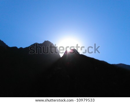 Sunset over the Andes mountains along the Inca trail.  Peru.