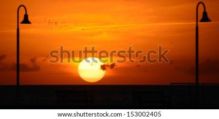 Sunset over the Atlantic ocean, Key West, Monroe County, Florida, USA - stock photo