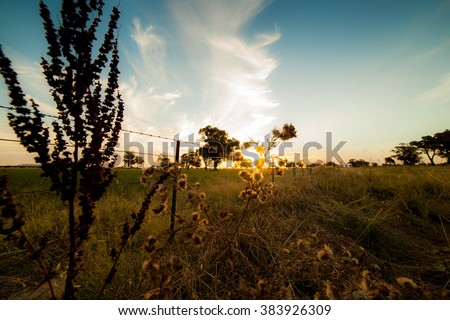 Sunset over the Australian Outback - stock photo