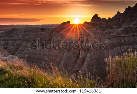 Sunset over the Badlands of South Dakota - stock photo