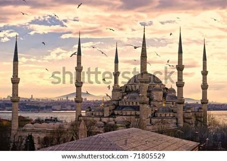 Sunset over The Blue Mosque, (Sultanahmet Camii), Istanbul, Turkey. - stock photo