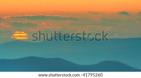 Sunset over the Blue Ridge Mountains as viewed from Skyline Drive in Shenandoah National Park