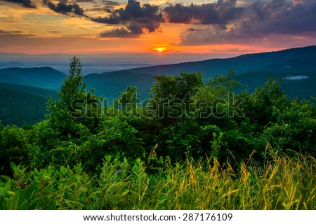 Sunset over the Blue Ridge Mountains, seen from Skyline Drive in Shenandoah National Park, Virginia. - stock photo