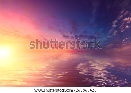 Sunset over the calm Black sea. Romantic mood transmitted color palette pictures - stock photo