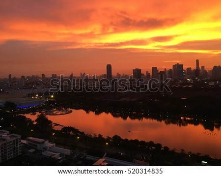 Sunset over the city of Bangkok in Thailand