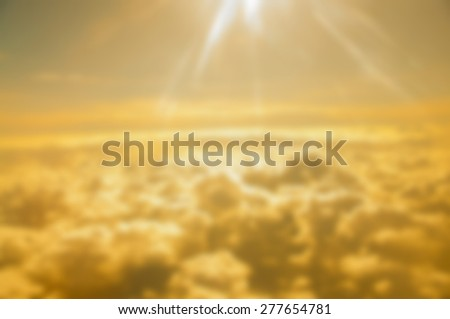 Sunset over the clound - Blurred picture style - stock photo