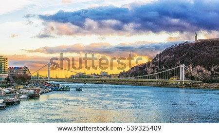 sunset over the Danube in Budapest