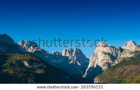 Sunset over the Dolomites, Italian Alps - stock photo