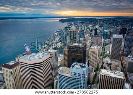Sunset over the downtown skyline, in Seattle, Washington. - stock photo