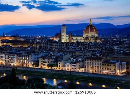 Sunset over the Florence Duomo - stock photo