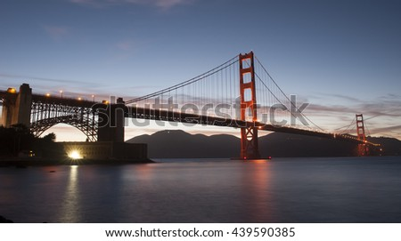 Sunset over the Golden Gate Bridge at San Francisco, California Point Ridge