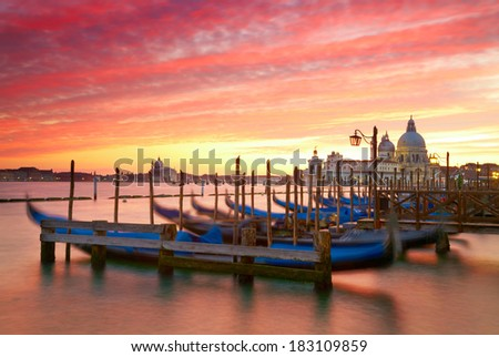 Sunset over the Grand Canal. Venice, Italy - stock photo