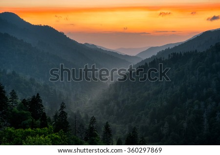 Sunset over The Great Smoky Mountains from Mortons overlook along US 441 - stock photo