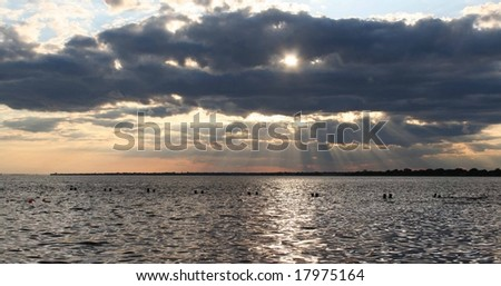 Sunset over the Great South Bay on Long Island