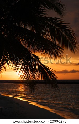 Sunset over the Indian Ocean - stock photo