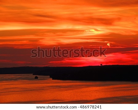 sunset over the lake of the  ozarks, , missouri